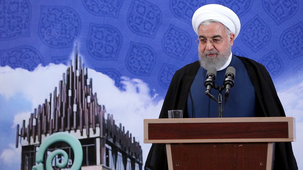Iranian President Hassan Rouhani speaks at the Noavari factory in Tehran, Iran (5 November 2019)