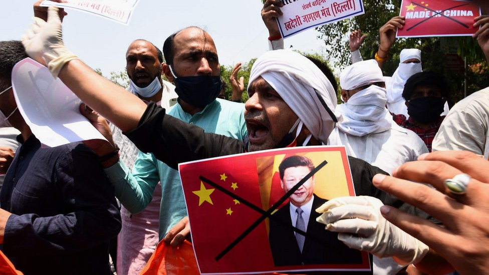Protest outside the Chinese embassy in Delhi