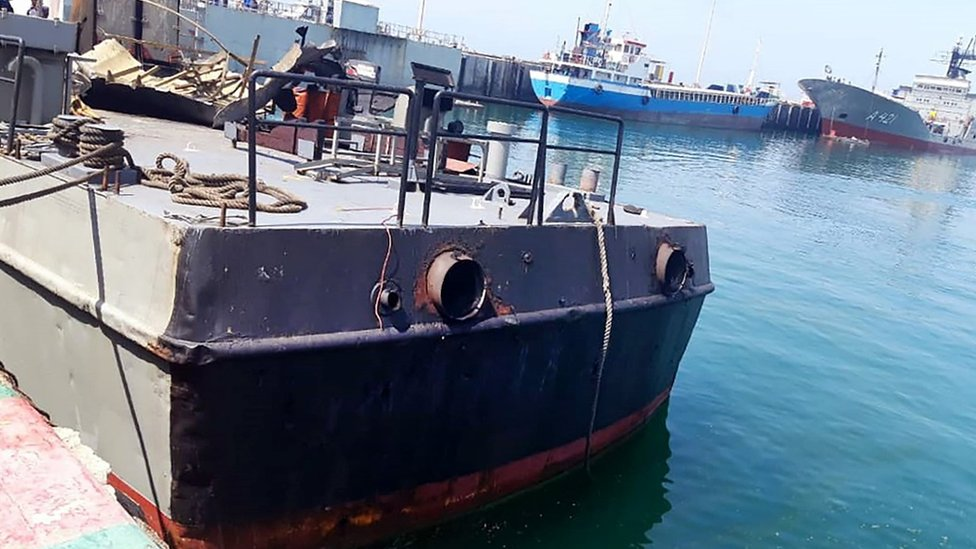 Photo from the Iranian military's website showing the damaged naval vessel Konarak at port on 11 May 2020