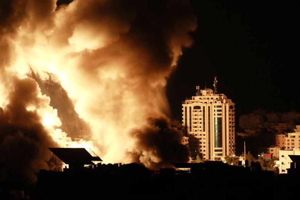 Bombardeos de Israel en Gaza el 18 de mayo de 2021.