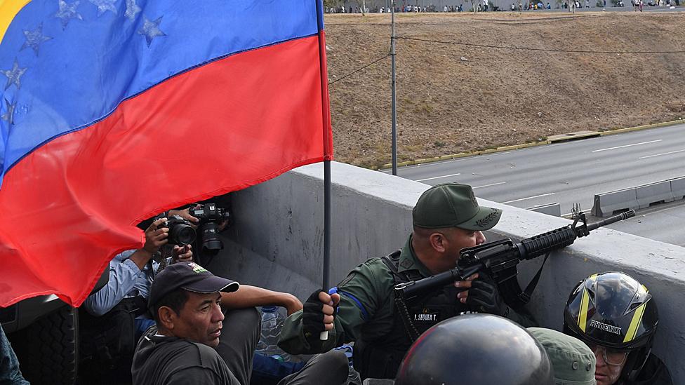 Fuerzas militares en Caracas.