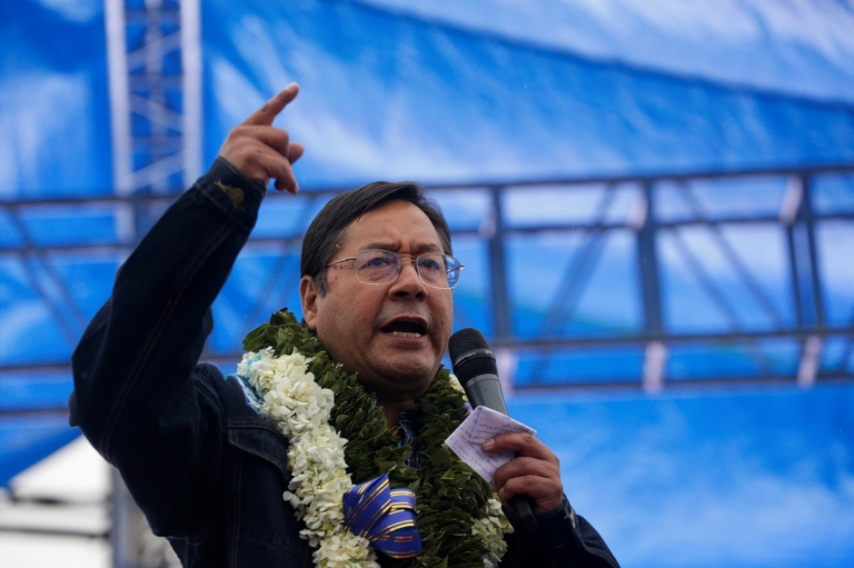 Presidential candidate Luis Arce speaks during a closing campaign rally ahead of the Bolivian presidential election, in El Alto, on the out