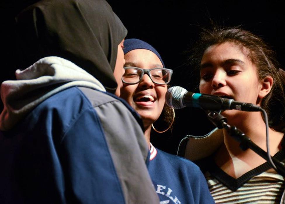Somali children from the Cedar-Riverside neighbourhood singing during a recording for the album  Ubadkaa Mudnaanta Leh