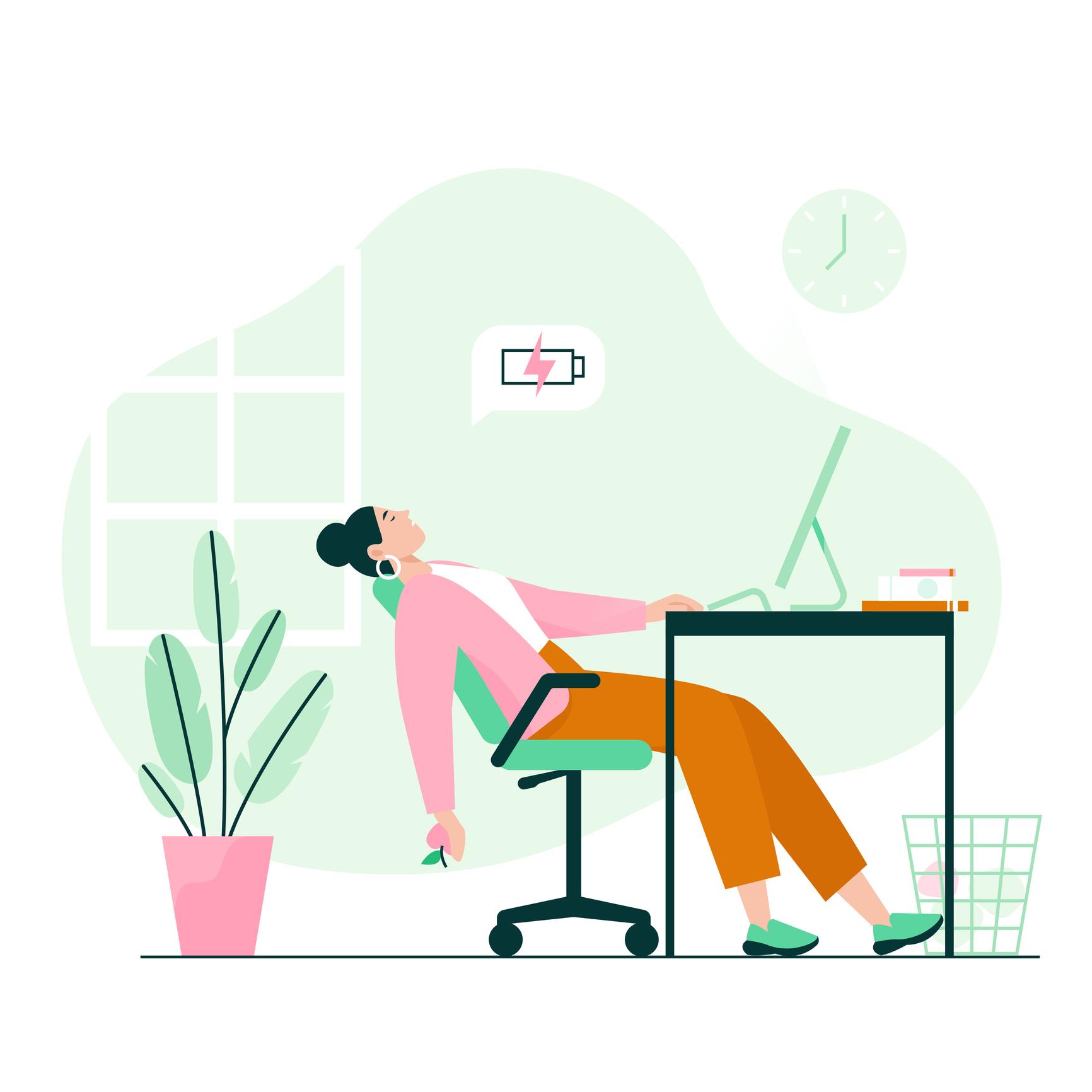 Ilustración de una mujer agotada frente a un escritorio en su casa.