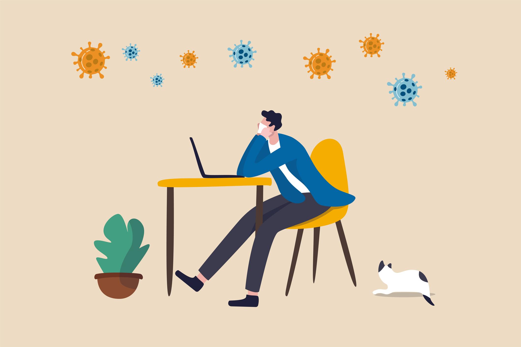 Ilustración de un hombre aburrido frente a un escritorio en su casa.