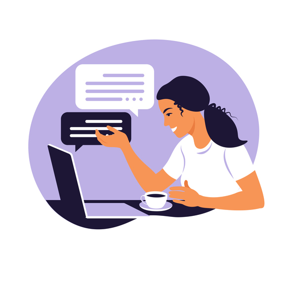 Illustration of a woman doing remote work.