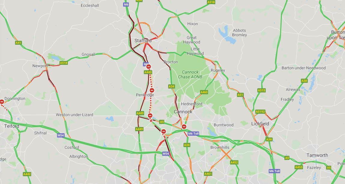 Heavy congestion around closed M6