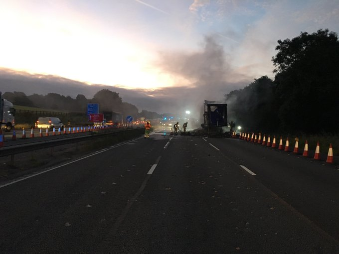 Lorry fire causing long delays